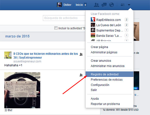 Facebook Borrar Historial